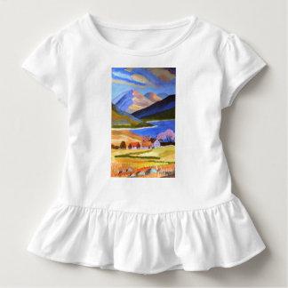 Camiseta Infantil T escocês do plissado da criança das montanhas