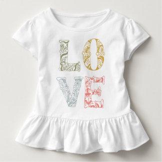 Camiseta Infantil T floral desenhado mão colorido do plissado do