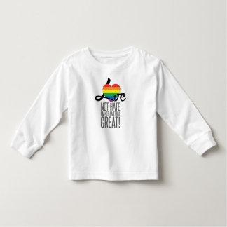 Camiseta Infantil T longo da luva da criança do ódio do amor não