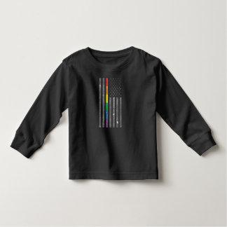 Camiseta Infantil T longo escuro da luva da criança americana da