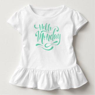 Camiseta Infantil T lunático bonito do plissado de segunda-feira  