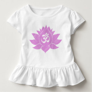 Camiseta Infantil T Ruffled criança com a flor de Lotus cor-de-rosa