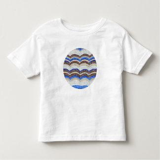 Camiseta Infantil T-shirt azul redondo da criança do mosaico