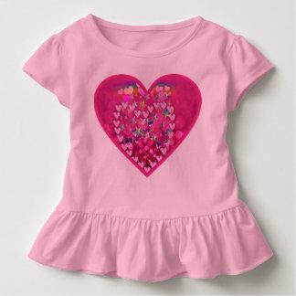 Camiseta Infantil T-shirt bonito do plissado da criança do coração