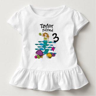 Camiseta Infantil T-shirt customizável do aniversário da sereia