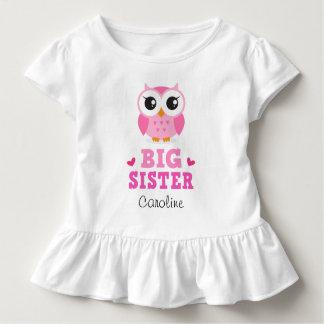 Camiseta Infantil T-shirt da irmã mais velha, coruja cor-de-rosa