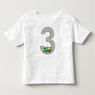 Camiseta Infantil T-shirt do caminhão de lixo do aniversário de 3