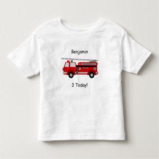 Camiseta Infantil T-shirt do carro de bombeiros da criança com nome