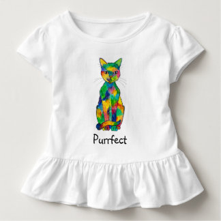 Camiseta Infantil T-shirt do plissado da criança de Purrfect do gato