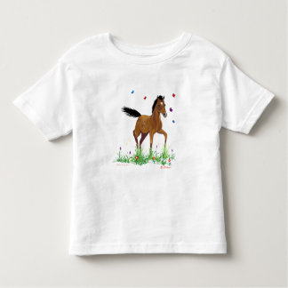 Camiseta Infantil T-shirt do potro e da criança das borboletas