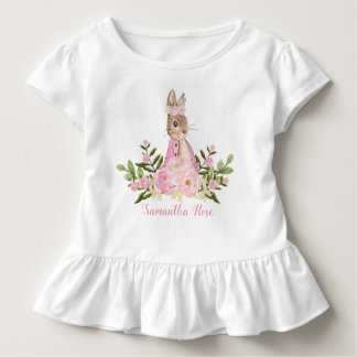 Camiseta Infantil T-shirt floral cor-de-rosa da criança do