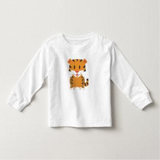 Camiseta Infantil T-shirt longo da luva da criança com tigre dos