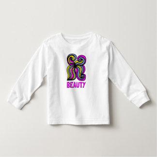 """Camiseta Infantil T-shirt longo da luva da criança da """"beleza"""""""