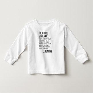 Camiseta Infantil T-shirt longo da luva da criança dos Estados