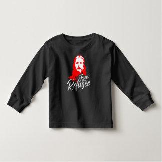 Camiseta Infantil T-shirt longo escuro da luva da criança de Jesus