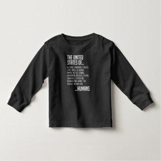Camiseta Infantil T-shirt longo escuro da luva da criança dos