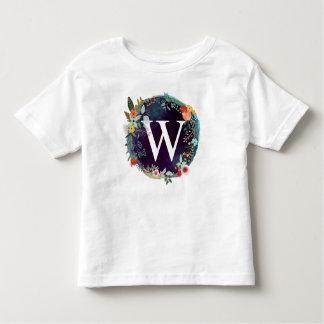 Camiseta Infantil T-shirt personalizado do monograma de W da letra