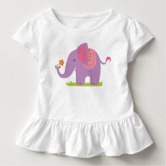 Camiseta Infantil T-shirt roxo do plissado do elefante