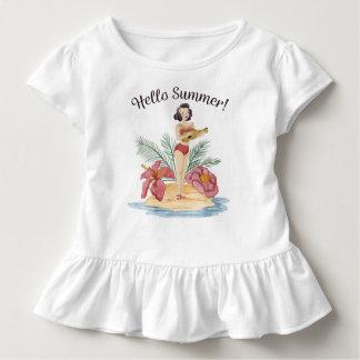 Camiseta Infantil T tropical do plissado da praia   do verão simples