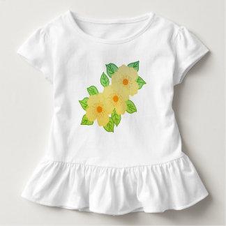 Camiseta Infantil três flores amarelas