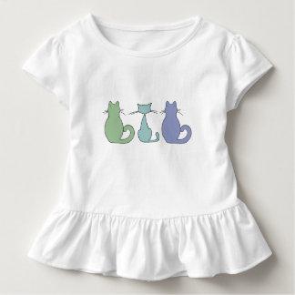 Camiseta Infantil Três gatos coloridos