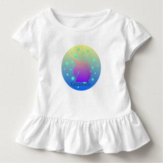 Camiseta Infantil Unicórnio de Ombre com gratitude da palavra
