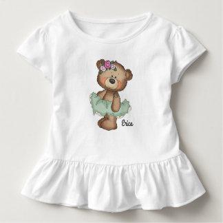 Camiseta Infantil Urso da bailarina no T verde do plissado da