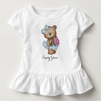 Camiseta Infantil Urso lunático da bailarina com buquê da flor