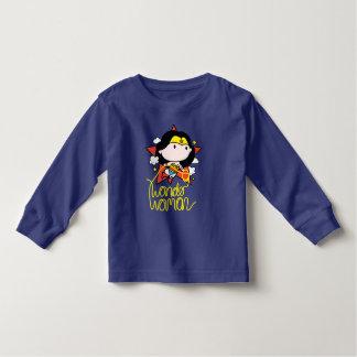 Camiseta Infantil Vôo da mulher maravilha de Chibi com laço
