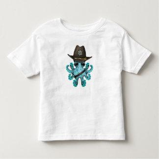 Camiseta Infantil Xerife bonito do polvo do bebê azul