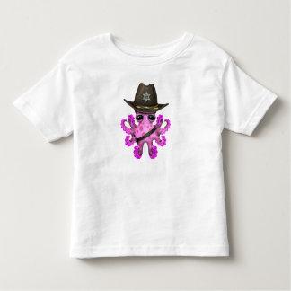Camiseta Infantil Xerife cor-de-rosa bonito do polvo do bebê