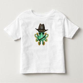Camiseta Infantil Xerife verde bonito do polvo do bebê