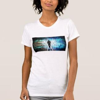 Camiseta Instrução de Digitas como um conceito Backgroun da