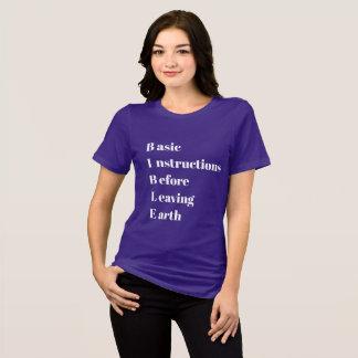 Camiseta Instruções básicas da BÍBLIA antes de deixar a