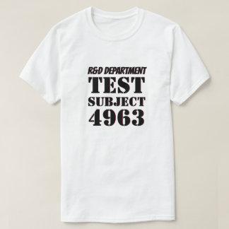 Camiseta Investigação e desenvolvimento do assunto de teste