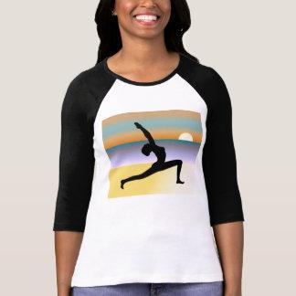 Camiseta Ioga da praia 3/4 de parte superior das senhoras