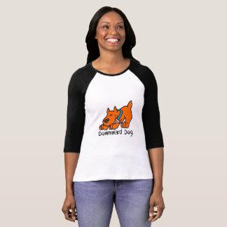 Camiseta Ioga engraçada bonito do cão descendente 3/4 de