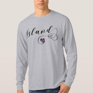 Camiseta Ísland, t-shirt do coração de Islândia