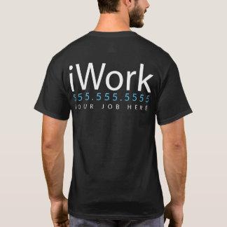 Camiseta iWork. Eu trabalho. Roupa relativa à promoção