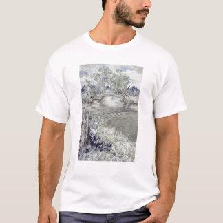 Camiseta Izaak Walton que reclina contra uma cerca