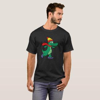 Camiseta Jacaré que patina com chapéu e lenço