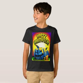 Camiseta Jack-O-Lanterna feliz do azul de Haloween