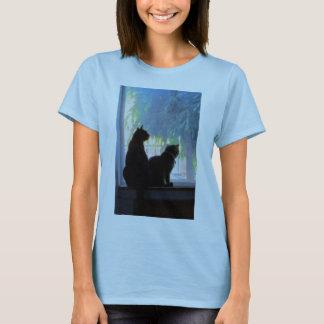 Camiseta Janela que olha o óleo dos gatinhos