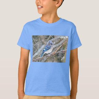 Camiseta Jay azul em uma tempestade de neve
