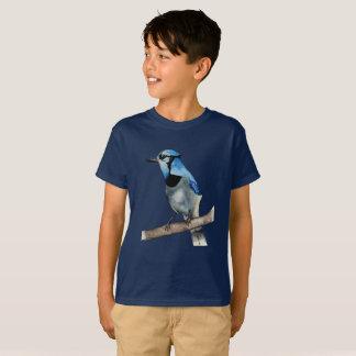 Camiseta Jay azul na pintura da aguarela do ramo