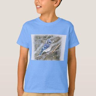 Camiseta Jay azul no feriado do Natal da neve