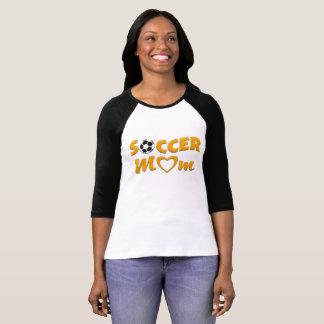 Camiseta Jérsei amarelo e preto da mamã do futebol