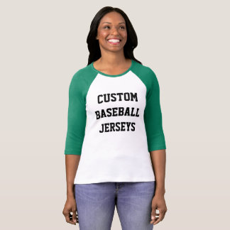 Camiseta Jérsei de basebol do Raglan das mulheres