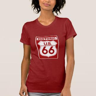 Camiseta Jérsei fino vermelho da rota 66 históricos