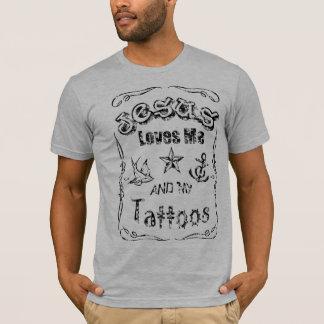 Camiseta Jesus ama me e meus tatuagens